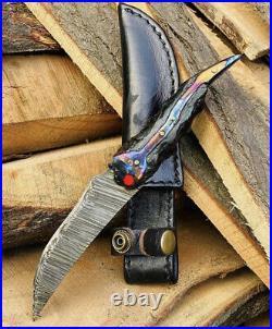 Custom HAND FORGED DAMASCUS STEEL Knife HUNTING with Custom Timascus Handle