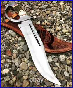 Custom Hand Made D2 TOOL STEEL HUNTING BOWIE KNIFE WITH STAG HORN HANDLE