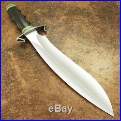 Custom Handmade D-2 Tool Steel Buffalo Horn 1-of-kind Hunting Bowie With Sheath