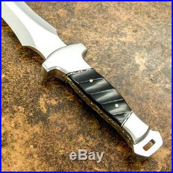 Custom Handmade D-2 Tool Steel Gorgeous Bull Horn Hunting Bowie With Sheath