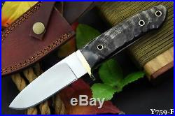 Custom Handmade D-2 Tool Steel Ram Horn Beautiful Chute Knife With Leather Pouch