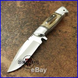 Custom Handmade D-2 Tool Steel Stag Horn 9 Skinning/hunting Knife With Sheath