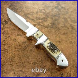 Custom Handmade D-2 Tool Steel Stag Horn Loveless Style Chute Knife With Pouch
