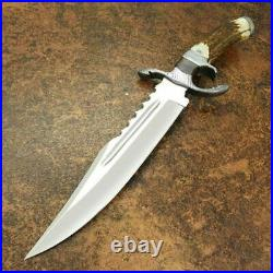 Custom Handmade D2 Stee Hunting Bowie knife with Beautiful Stag Antler Horn
