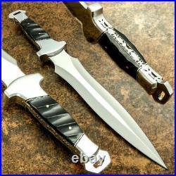 Custom Handmade D2 Steel Beautiful Hunting Dagger Knife with Bull Horn Handle