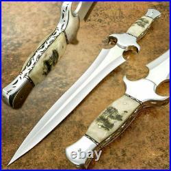 Custom Handmade D2 Steel Beautiful Hunting Dagger Knife with Ram Horn Handle