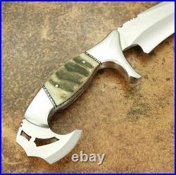 Custom Handmade D2 Steel Beautiful Hunting Knife with Amazing Ram Horn Handle