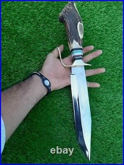 Custom Handmade D2 Steel Hunting Bowie knife with Amazing Crown Stag Horn Handle