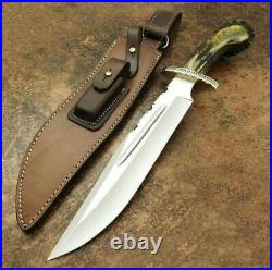 Custom Handmade D2 Steel Hunting Knife With Stag Horn Handle And Leather Sheath