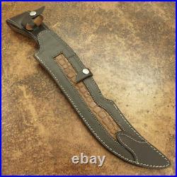 Custom Handmade D2 Tool Steel Ram Horn Beautiful Hunting Bowie Knife With Sheath