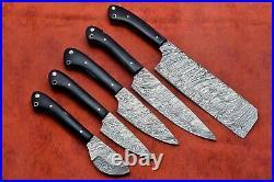 Custom Handmade Damascus Steel 5 Pc's Knife Chef Set with Horn Handle