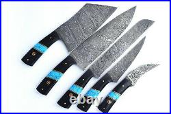 Custom Handmade Damascus Steel 5 Pc's Knife Chef Set with Turquoise/Horn Handle