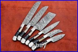 Custom Handmade Damascus Steel 6 Pc's Knife Chef Set with Bone/ Horn/Wood Handle