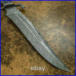 Custom Handmade Damascus Steel Fabulous Bowie Knife with Fire Stag Horn Handle