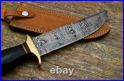 Custom Handmade Damascus Steel Hunting Knife with Beautiful Bull Horn Handle