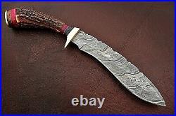Custom Handmade Damascus Steel Hunting Kukri Knife with Stag Horn Handle
