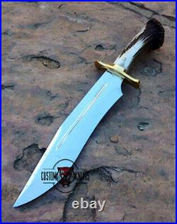 Custom Made Carbon Steel Stag Horn 1-of-a Kind Hunting Bowie With Sheath