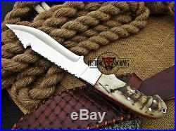 Custom Made D2 Tool Steel Ram Horn Mirror Polish Hunting Bowie Knife With Sheath