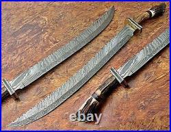 Customize Handmade Wazirabad Damascus Steel Swords With Stag Handle overall 32'