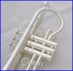 Customized Pro. Silver Eb Cornet E-Flat Trumpet Horn Monel Valve With Case