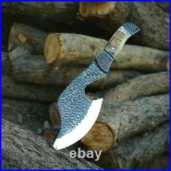 D2 steel hand forged with hammered texture full tang 13 hunting axe