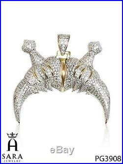 DOUBLE HORN HIP HOP PENDANT Sterling Silver Gold Plated with Lab Diamonds