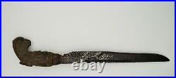 Dagger Knife Horn Handle with Silver and Metal Blade Antique Sri Lanka Ceylon