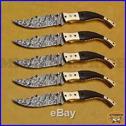 Damascus Steel Liner Lock Folding Pocket Knife With Black Horn Handle lot of 5