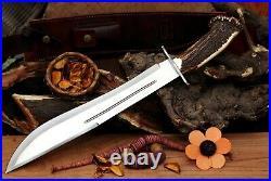 Diamond-BladeCustom 5160 Spring Steel Bowie Knife Handmade With Stag Horn Handle