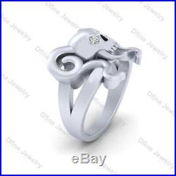 Diamond Eyes Vampire Skull Engagement Ring Silver Skull Ring With Horn and Teeth
