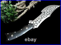 Dragon Warrior Best Handmade Etching Steel Hunting Knife With Bull Horn Handle