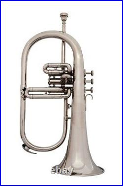 EQUISITE OSWAL! New Silver Bb Flugel Horn With Free Hard Case+Mouthpiece