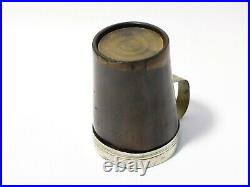 Engraved Elizabeth A Heselton 1850 Cow Horn Cup with Plated Collar & Handle
