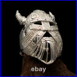 Excellent crafted Men's Ring Viking Warrior Mask with Horns Sterling Silver