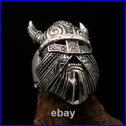 Excellent crafted Men's Viking Ring Mask with Horns antiqued Sterling Silver
