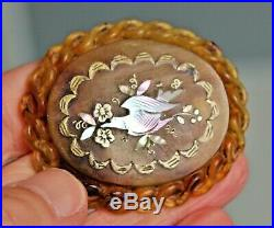 Exquisite Victorian Pressed Horn Brooch With Gold Silver And Mop Inlay