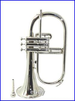 FLUGEL HORN Bb SILVER WITH FREE HARD CASE + MOUTHPIECE AWD012