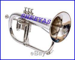 FLUGEL HORN SILVER Bb FLAT WITH FREE HARD CASE + M/P SKT398