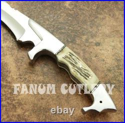 Fanum Custom Handmade D2 Tool Steel Stag Horn Tactical Hunting Bowie With Sheath