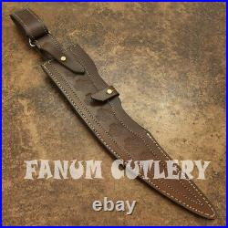 Fanum Custom Made D-2 Tool Steel Hunting Bowie With Sheath / Wire Wrapped Handle