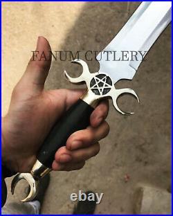 Fanum Handmade D-2 Tool Steel Buffalo Horn Moon Crest Dagger Knife With Sheath