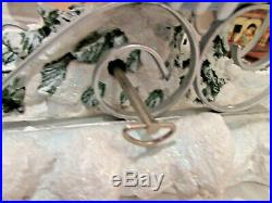 Festive Winter Reindeer & Sleigh With Woman withHorn Resin Blue Silver Musical KH