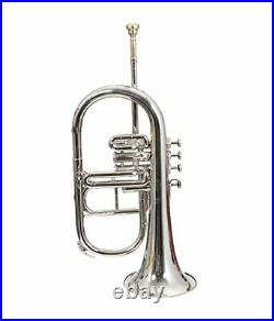 Flugel Horn Nickel Plated Bb Flat 4 Valve With Hard Case Mouthpiece