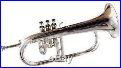 Flugel horn 3 valve new polish of Nickel Plated Bb pitch with hard case DAM-0318