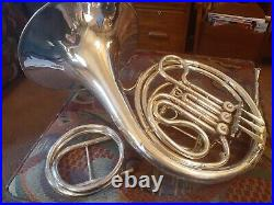 French horn vintage German Kruspe imported silver single F horn with Eb slide