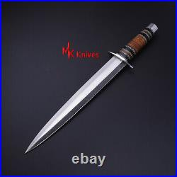 Full tang custom HANDMADE Hand d2 tool Steel Hunting Dagger Knife with leather