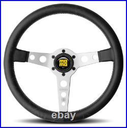 Genuine Momo Prototipo Heritage steering wheel. Black leather with silver spokes