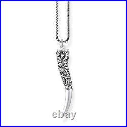 Genuine THOMAS SABO Oxidised Silver Acanthus Horn Pendant With Chain TKE1995