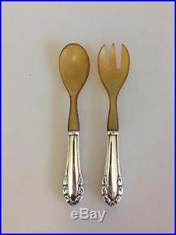 Georg Jensen Lily of the Valley Sterling Silver Salad Set with Horn