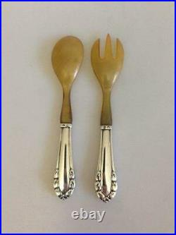 Georg Jensen Lily of the Valley Sterling Silver Salad Set with Horn No 108
